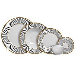 Aparelho de Jantar e Chá 20 peças - Ritz Preto - Alleanza Cerâmica