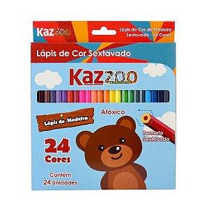 Lápis 24 Cores Madeira Sextavado Kz3702 Kaz