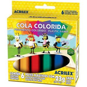 Cola Colorida 23g C/06 Cores 2606 Acrilex