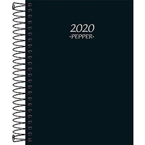 Agenda Tilibra 2021 Pepper Preta Espiral Cd 160fls Tilibra