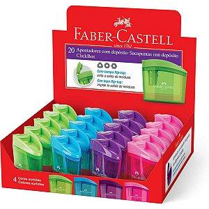 Apontador Com Deposito Clickbox Cores Sortidas Faber-Castell