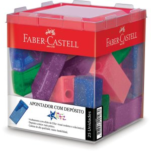 Apontador Com Deposito Glitz Tubo Plastico 5 Cores Faber-Castell
