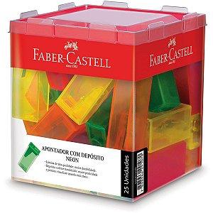 Apontador Com Deposito Transparente Cores Neon Faber-Castell