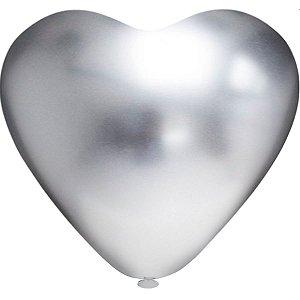 Balão Coração N.010 Coracao Platino Prata Riberball