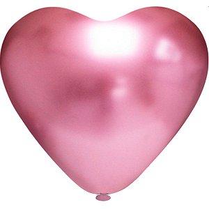 Balão Coração N.010 Coracao Platino Rosa Riberball