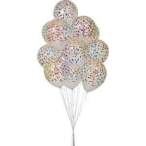 Balão Decorado N.010 Confete Clear C/Sortido Riberball