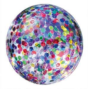 Balão Para Decoração Redondo Bubble C/Confete Colorido 45cm Mundo Bizarro