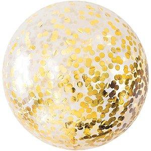 Balão Para Decoração Redondo Bubble C/Confete Dourado 45cm. Mundo Bizarro