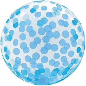 Balão Para Decoração Redondo Bubble Estampado Azul 45cm. Mundo Bizarro
