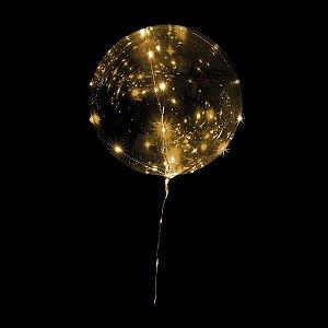 Balão Para Decoração Redondo Bubble Led Dourado Pilha 45cm. Mundo Bizarro