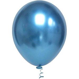 Balão Para Decoração Redondo N.010 Platino Azul Riberball
