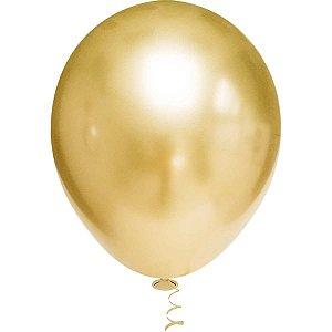 Balão Para Decoração Redondo N.010 Platino Ouro Riberball