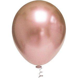 Balão Para Decoração Redondo N.010 Platino Rose Gold Riberball