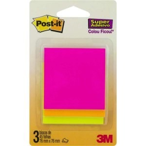 Bloco De Recado Post-It 76x76mm Misto 3m