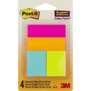 Bloco De Recado Post-It Cascata Misto 3m