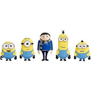 Boneco E Personagem Minions Figuras 10cm Pk.C/5 Mattel