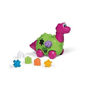 Brinquedo Educativo Baby Dinho C/Blocos E Puxador Tateti