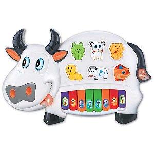Brinquedo Para Bebê Piano Musical Vaquinha Braskit