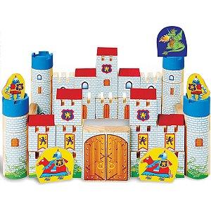 Brinquedo Para Montar Castelo Encantado Madeira 64pc Brinc. De Crianca