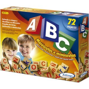 Brinquedo Pedagógico Madeira Abc Maiusculas/Minusculas 72pc Xalingo
