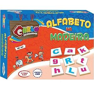 Brinquedo Pedagógico Madeira Alfabeto Na Madeira 26pcs Carlu