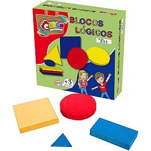 Brinquedo Pedagógico Madeira Blocos Logicos 48 Pcs Carlu