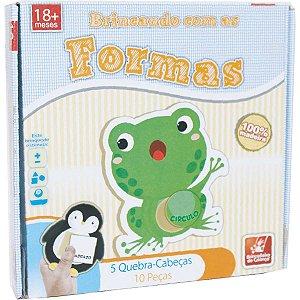 Brinquedo Pedagógico Madeira Brincando C/As Formas 10pcs Brinc. De Crianca