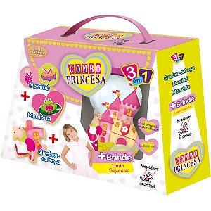 Brinquedo Pedagógico Madeira Combo Princesa 3 Em 1 Brinc. De Crianca