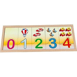 Brinquedo Pedagógico Madeira Numerais/Quant.Na Base 20pcs Carlu