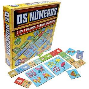 Brinquedo Pedagógico Madeira Os Numeros Domino E Memoria Pais E Filhos