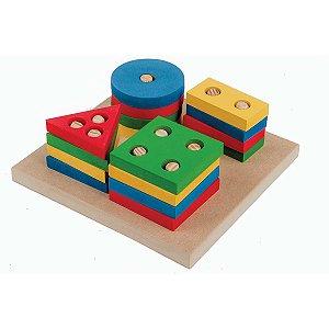 Brinquedo Pedagógico Madeira Prancha Selecao Peq.16pcs Geom Carlu