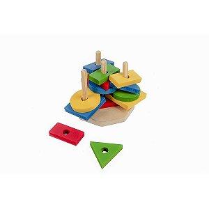 Brinquedo Pedagógico Madeira Torre De Forma Geometrica 16pc Carlu