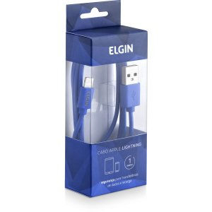 Cabo Usb Apple Lightning 1m Azul Elgin