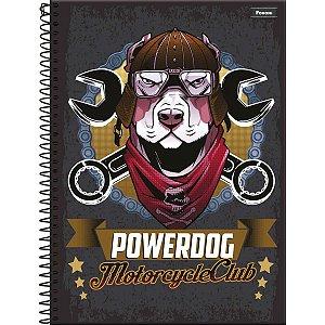 Caderno 10x1 Capa Dura 2020 Power Dog 200 Folhas Foroni