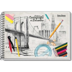 Caderno Desenho Univ Capa Dura 60fls. Espiral Pauta Branca
