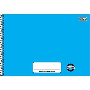 Caderno Desenho Univ Capa Dura Pepper 80fls Azul Univ.Horiz. Tilibra