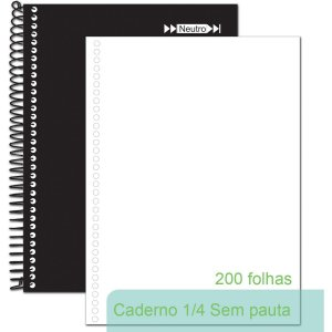 Caderno Espiral 1/4 Capa Dura Neutro Sem Pauta 200fls. Tamoio