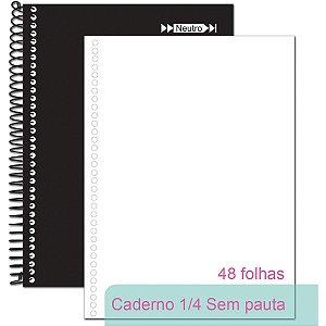 Caderno Espiral 1/4 Capa Dura Neutro Sem Pauta 48fls. Tamoio