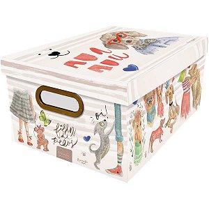 Caixa Organizadora Decorada Media 38x29x18,5cm. Cachorro Dello
