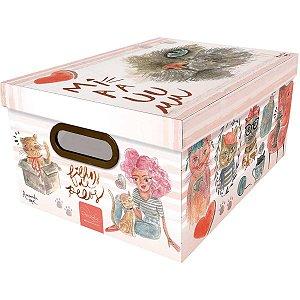 Caixa Organizadora Decorada Media 38x29x18,5cm. Gato Dello