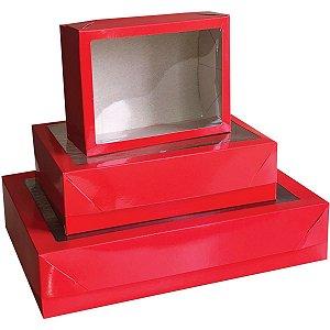 Caixa Para Presente Com Tampa Gd (25,5x35x7,5cm) Vm/Pt C/Vis Cristina