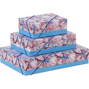 Caixa Para Presente Com Tampa Gd (35x25,5x7,5) Elast. Estamp Cristina
