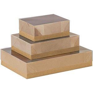 Caixa Para Presente Com Tampa Gd (35x25,5x7,5) Kraft/Pvc Cristina
