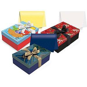 Caixa Para Presente Com Tampa Kit Caixa P 24x18x8cm Sortida Cromus