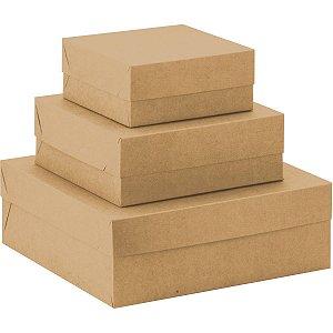 Caixa Para Presente Com Tampa Md (21x21x8) Quadrada Kraft Cristina