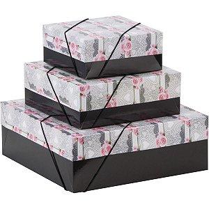 Caixa Para Presente Com Tampa Pq (16x16x7) Elast. Estampada Cristina