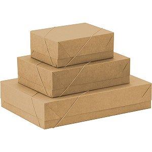 Caixa Para Presente Com Tampa Pq (19x14,5x7,5) Elast. Kraft Cristina