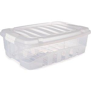 Caixa Plástica Multiuso Gran Box Baixa Incolor 13,7l Plasutil