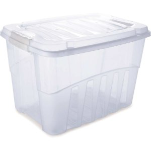 Caixa Plástica Multiuso Grand Box Alta Incolor 56l Plasutil