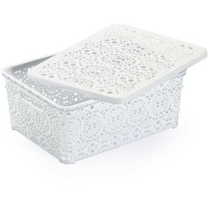 Caixa Plástica Multiuso Mandala Branca 8,8lt Monte Libano